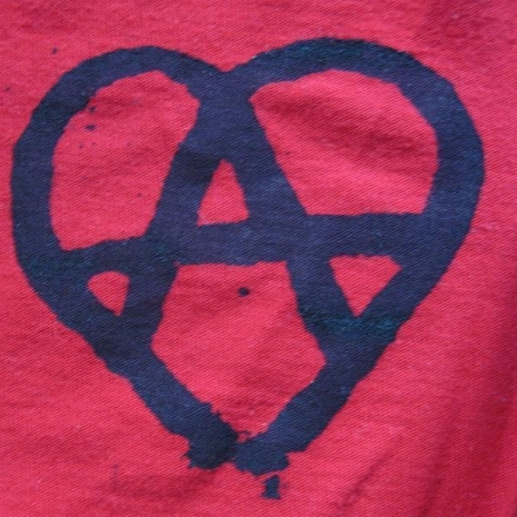 Anarchy Patch - Anarchy Heart Symbol - Black on Red