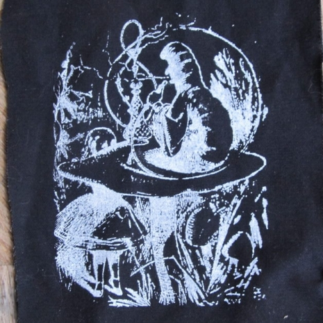 white on black alice in wonderland smoking caterpillar patches