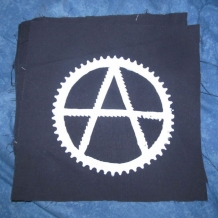 White on Black Canvas, Anarchy Bike Symbol  Back Patch