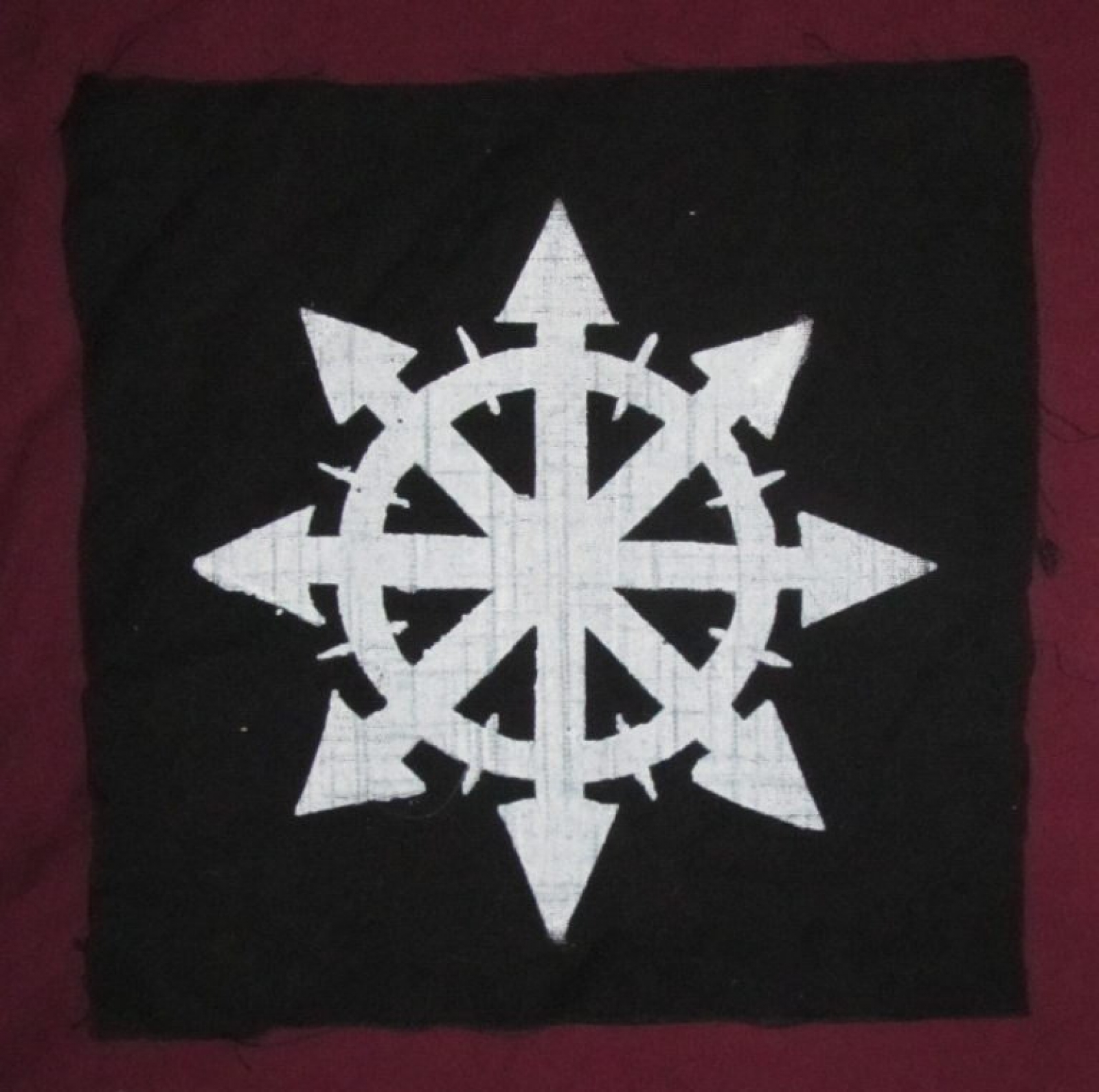Chaos Back Patch White Ink On Black Large For Back Or Bag