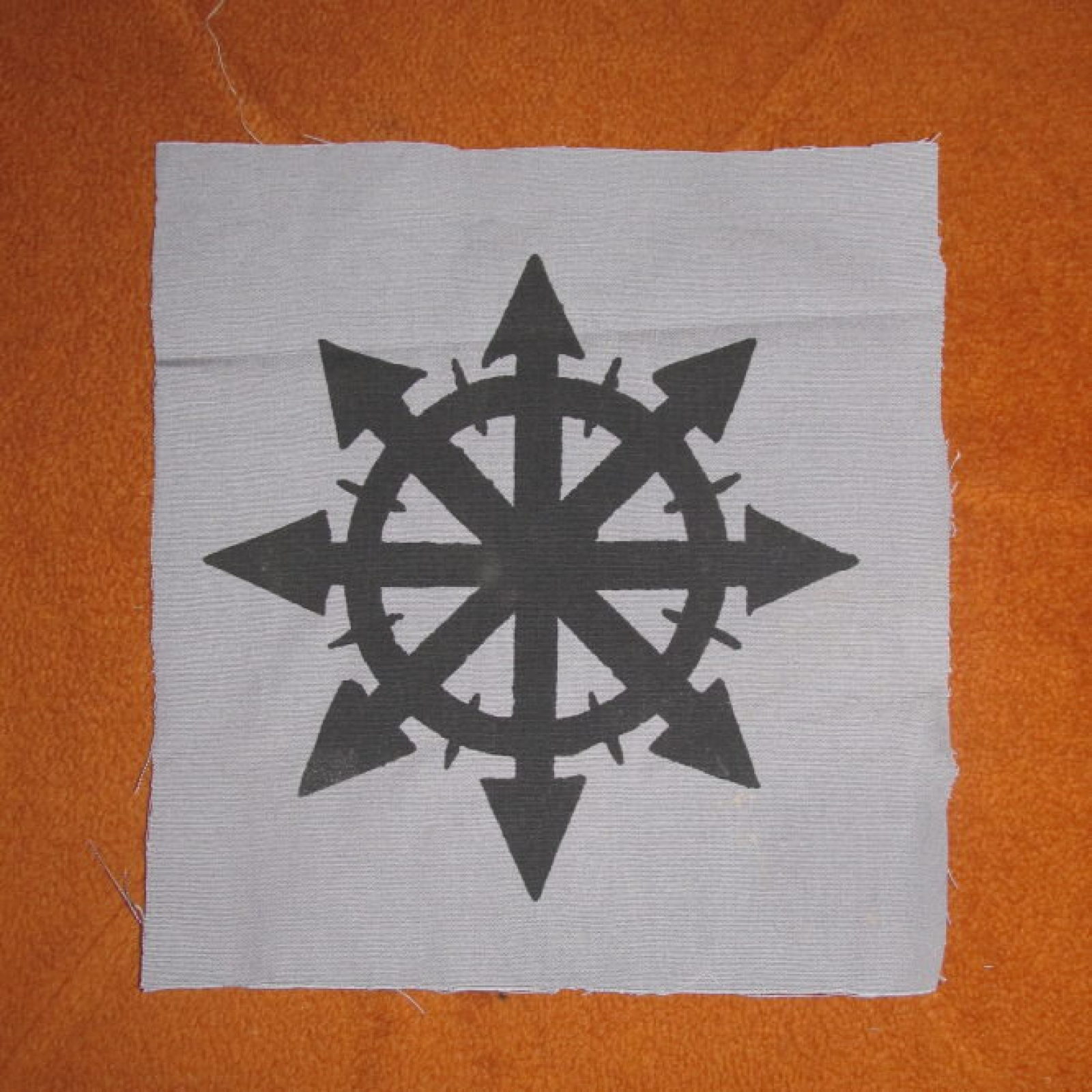 Chaos Back Patch Black Ink On Grey Canvas Large For Back Or Bag